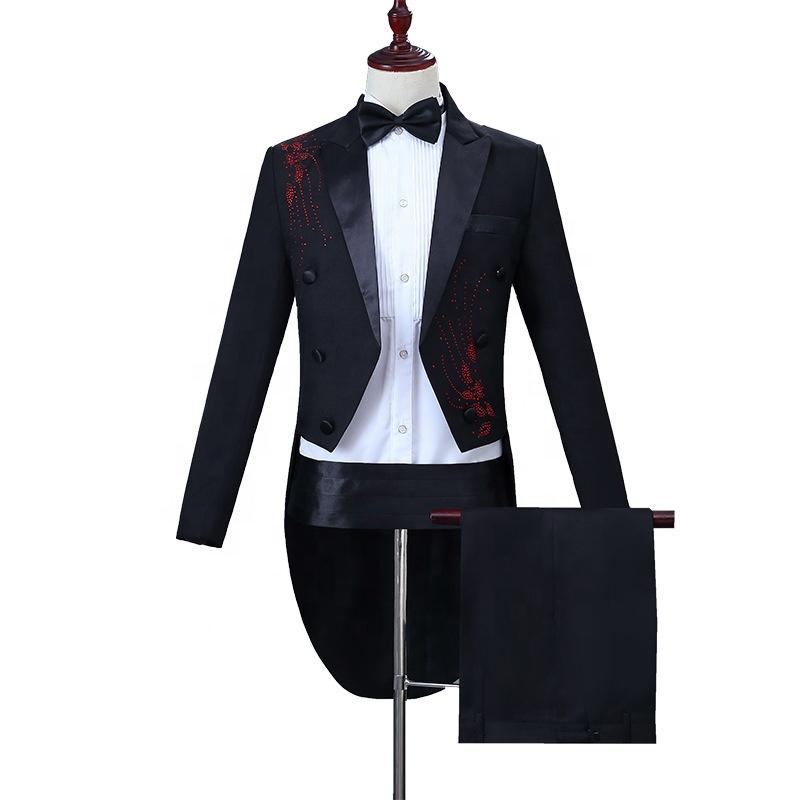 Design Applique Men Host Long Blazer Tailcoat 2 Pieces Suit фото