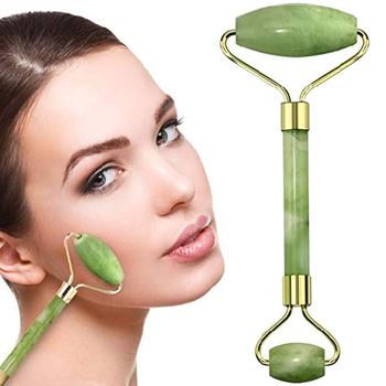 The Original Himalayan Anti Aging Jade roller Therapy 100% Natural double Neck Healing Massager De-Puffing Jade Facial Roller