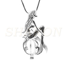 Wholesale DIY GIFT Charm Shy Mermaid Sterling Silver Cage Locket Pendant