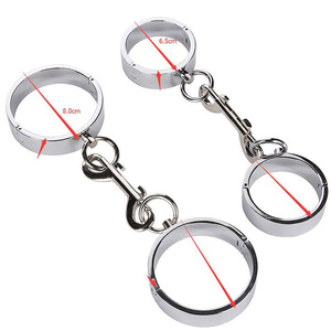 Silver Stainless Steel Handcuffs And Ankle Cuffs With Lock,Metal Wrist Cuffs For Restraint Metal Handcuffs With Chain