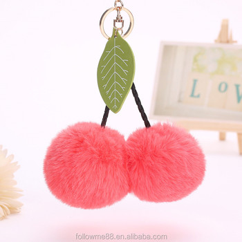 New Style Fashion bag Charms Wholesale Cheap Cherry Shaped faux Fur Pom Pom  Keychain 0754d2d33d35