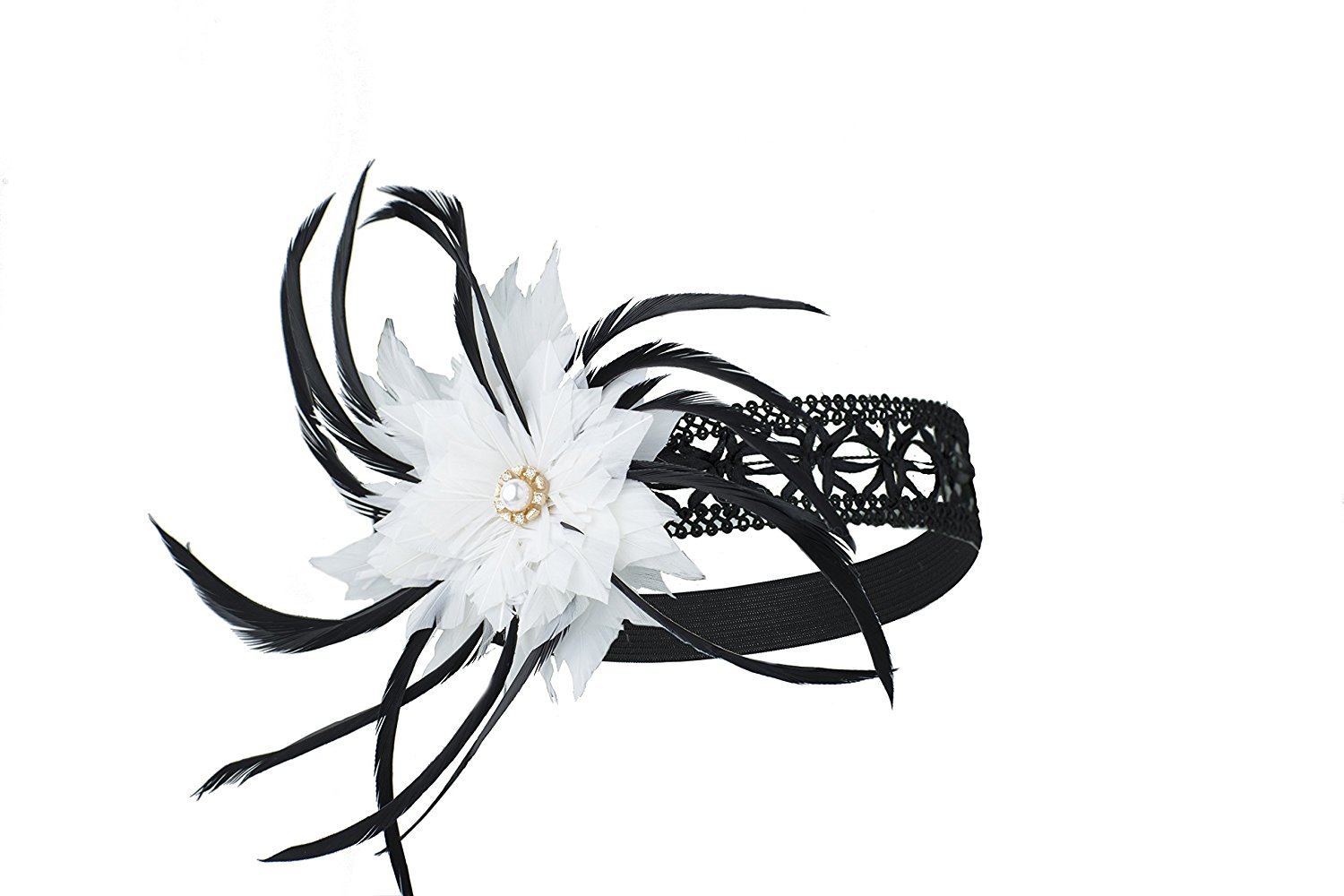 Cheap black white feather find black white feather deals on line at get quotations conifera headband elastic 1920s hollow white black feather flower with crystal glass stone for women mightylinksfo