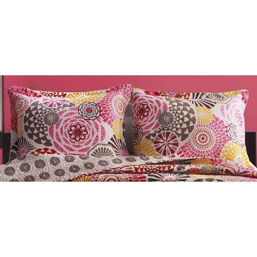 ON 2 Piece Pink Grey Yellow Geometric Pattern Pillow Shams Set King Size, Beautiful Multicolor Rich Mandala Motif Floral Design Pillow Cover, Vintage Designer Style, Abstract Colors, Cotton