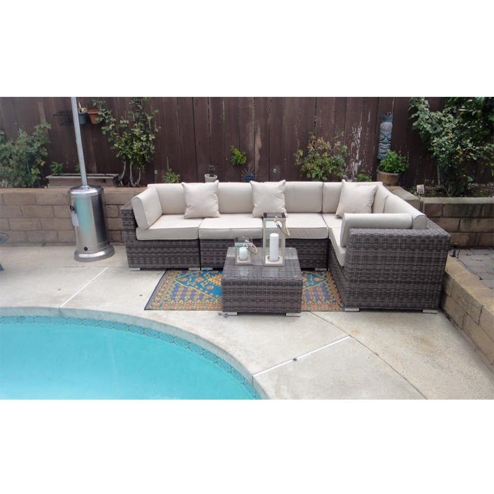 Get Quotations · Radeway Patio Furniture Wicker Rattan Sofa Set Sectional 6  Pieces With Protective Covers And Pillows,
