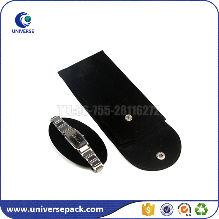 Custom Black Plain Button Velvet Flap Watch Pouch With Watch Holder