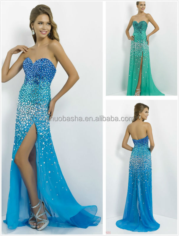 2014 Luxury Heavily Crystal A-Line Long Prom Dress With High Side Slit Accent Blue Sweetheart Zipper Chiffon Evening Gown NB0422