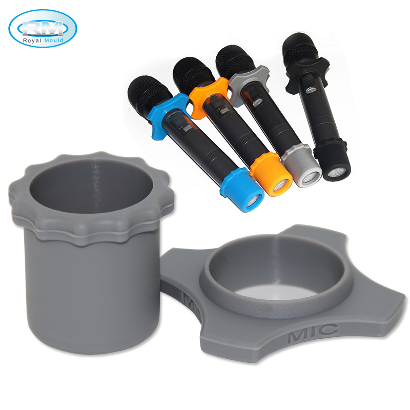Silicone Mic Ring Bottom Rod Sleeve Holder Set for KTV Device, Silicone Microphone Ring, 8 colors available