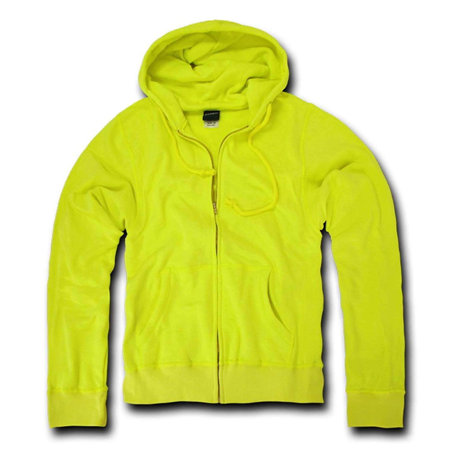 DECKY YELLOW Neon Basic Zip Up Hoodies for Mens