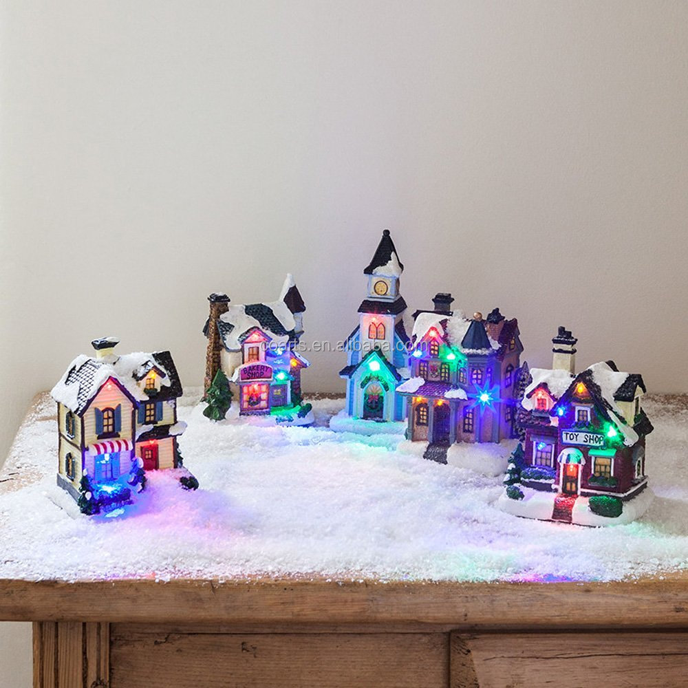 2016 Best selling factory customed lights up resin craft christmas village