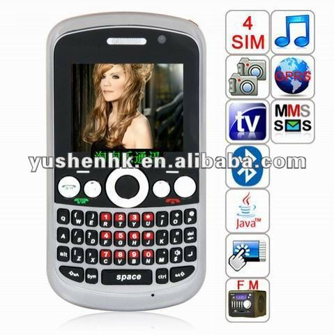 2.0 inch four sim phone Analog TV free phone +Dual cameras with flash lamp+Bluetooth 02