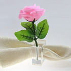 cheaper square crystal napkin ring with flower holder ,wholesale napkin holder,
