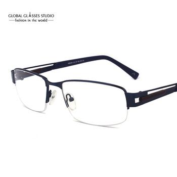 875bf411d91 Great Classic Design Half Frame Fashion Navy Blue Men Metal Cool Eyewear  Optical Frames Eyeglasses Specially