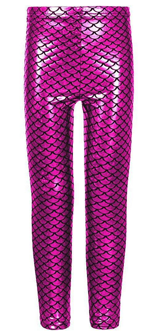 3434c67249977e R KON Girls Kids Shiny Mermaid Metallic Fish Scale Stretchy Disco Foil  Leggings