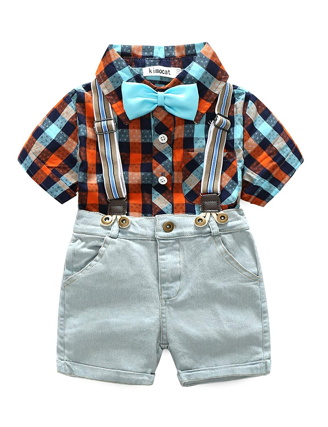 315a9260 Get Quotations · Aidio Baby Boys Overalls Bow Tie Plaid Short Sleeve Shirt  Denim Jeans Shorts Pants