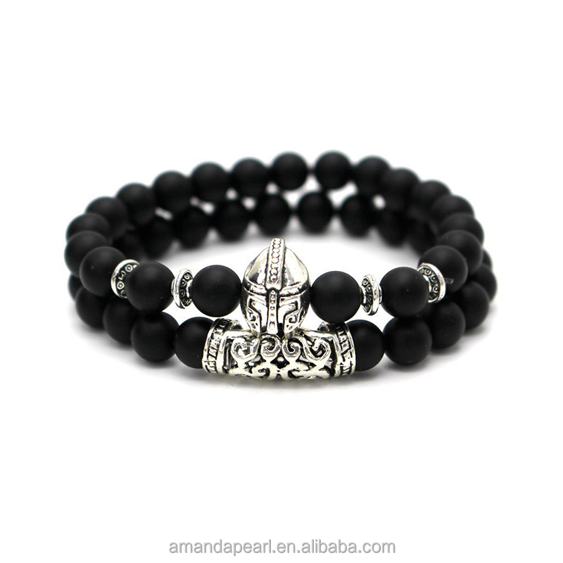 2017 New Fashion Men Bracelet Pave CZ & Warrior Helmet 8mm onyx Stone Strand Bracelets Jewelry