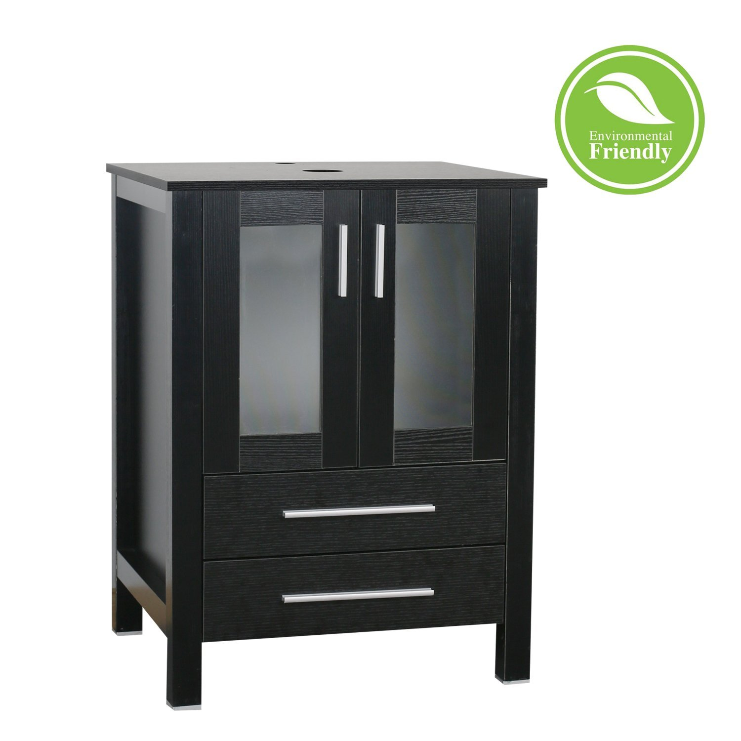 "buy 24"" black bathroom vanity top modern with 2 drawers wood"