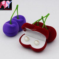Elegant cherry flocking ring necklace stud earring women jewelry box