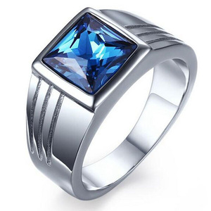 wholesale fashion 925 Sterling Silver Sapphire Crystal diamond Ring men wedding engagement ring