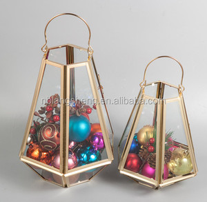 Gold metal geometric candle holder lantern for home christmas wedding decor