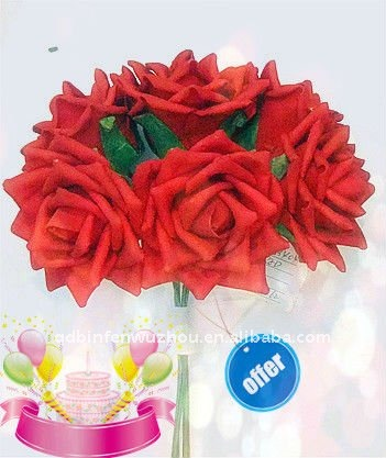 Red Artificial Foam Rose Flowers For Wedding Bride Use