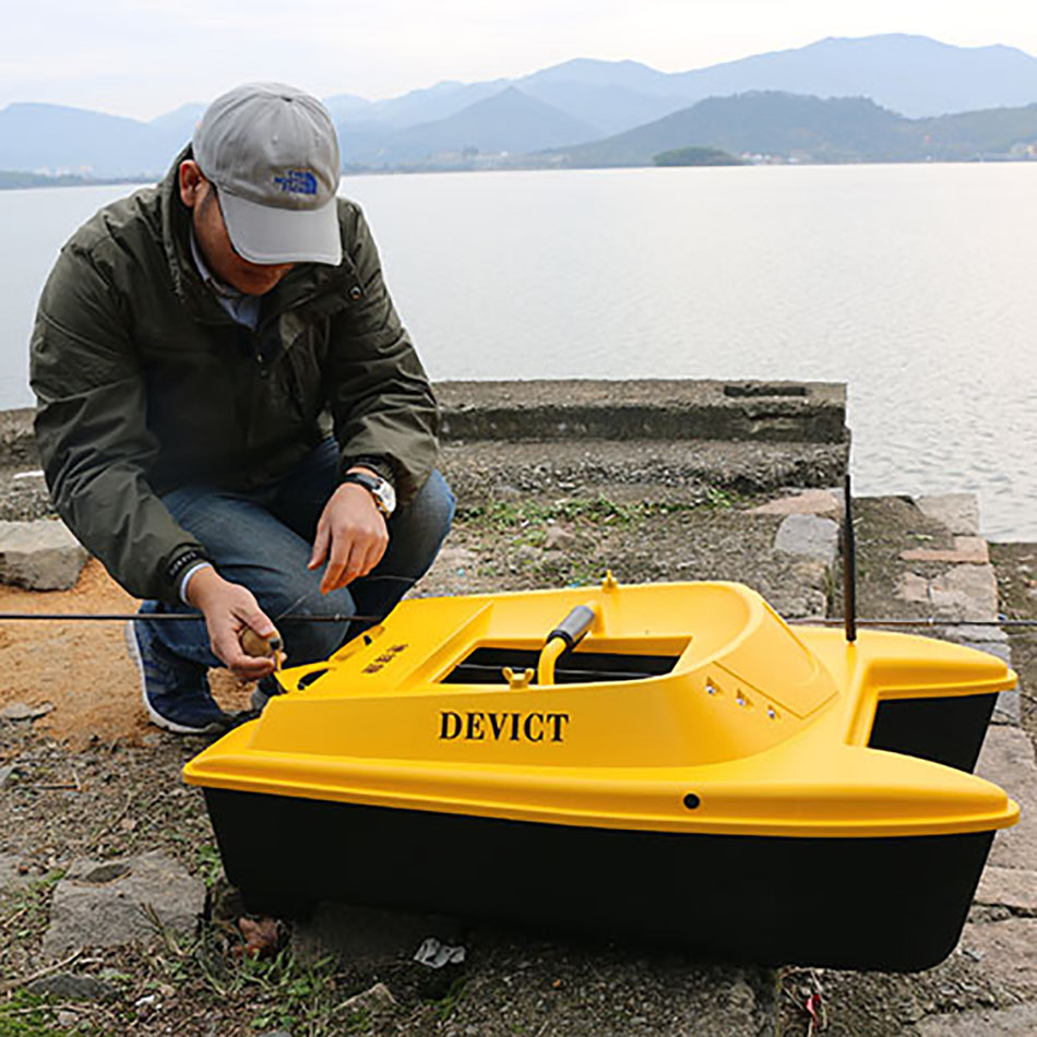 DEVC-303 Yellow and high speed DEVICT ABS Lithium Battery carp fishing bait boat for wholesale with GPS