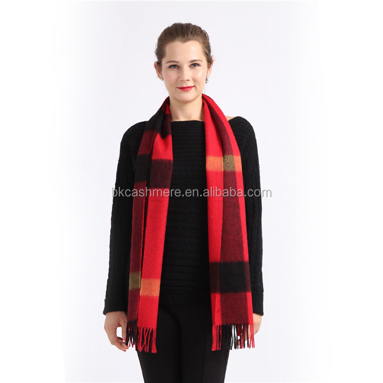 2017 factory direct sale winter thick red color plaid print wool scarf