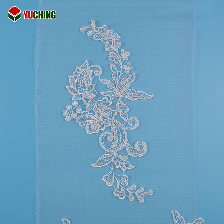 Unique design comfortable ivory 14*27cm wedding lace fabric 2017