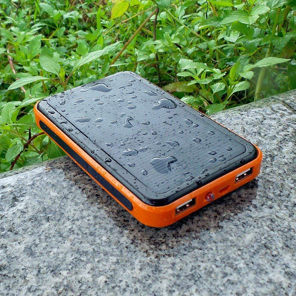 Li-Polymer Portable Power Pack - 10000mAh, 2 USB Ports, Solar Charging, Allpowers