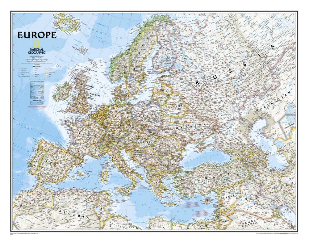 """Europe Classic Map (Two Sizes Available!) Map Type: Basic Size Laminated (24""""H x 30""""W)"""