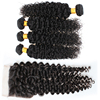 virgin mongolian brazilian kinky curly hair bundles with lace closure wholesale