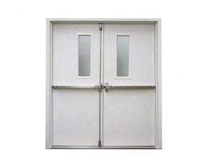 galvanized steel fire door with push bar with glass