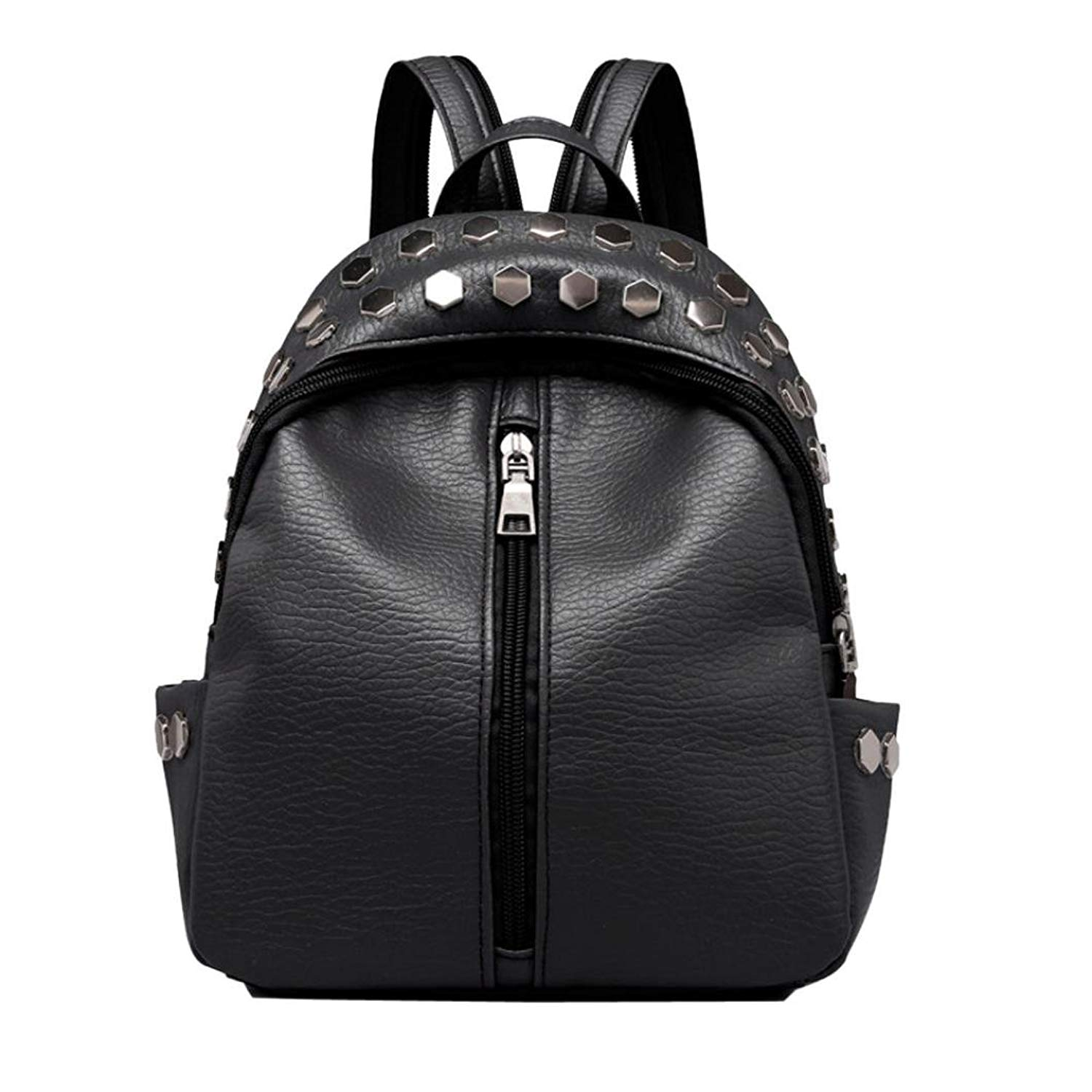 Vintage PU Leather Mini Backpack Purse Fashion Travel Rucksack for Women  Girls Rivets Decoration 983249b5852c9