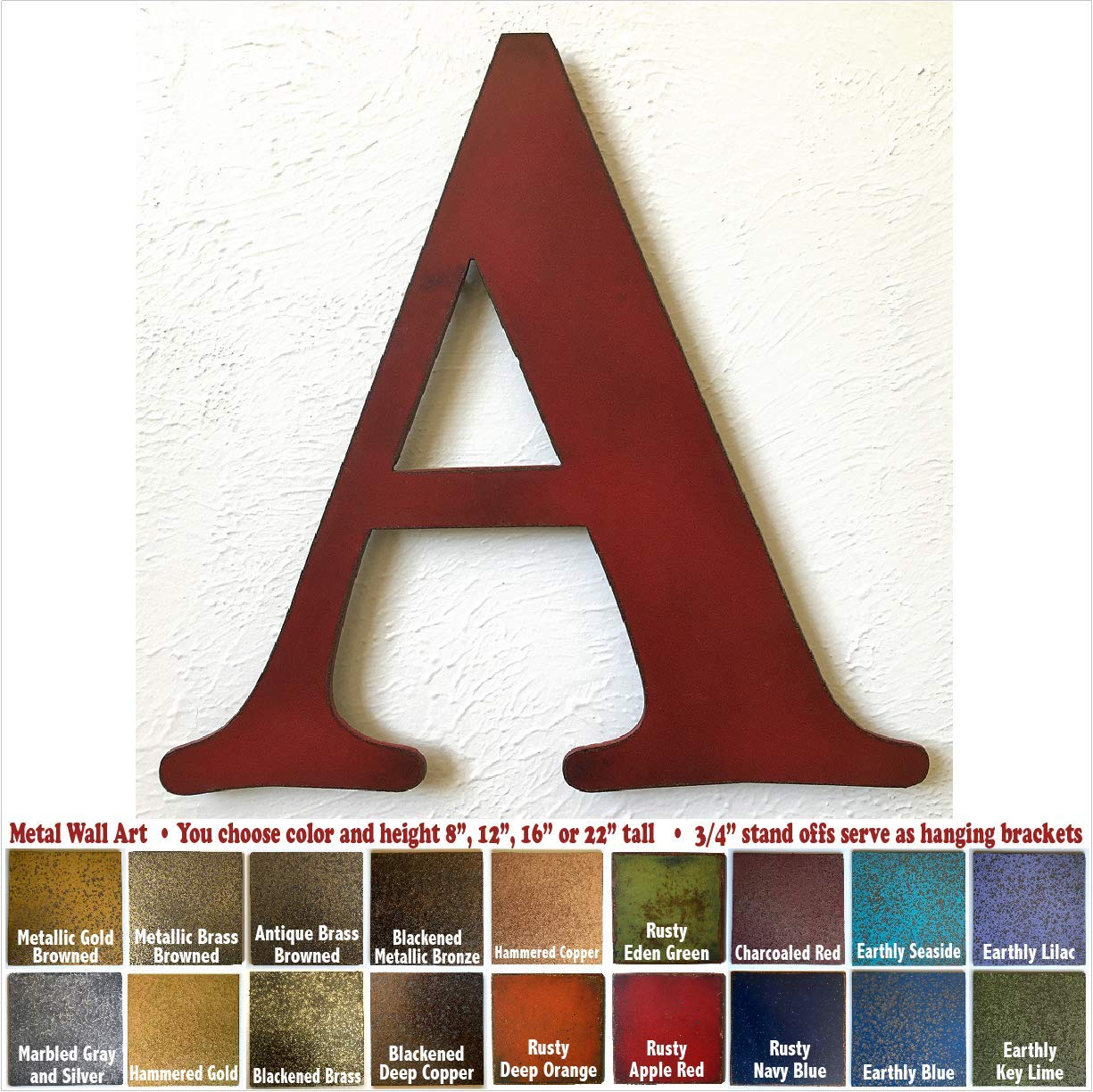 """Metal Letter A - 8"""", 12"""", 16"""" or 22"""" inch tall - Handmade metal wall art - Choose your Patina Color, Size and Letter or Number"""