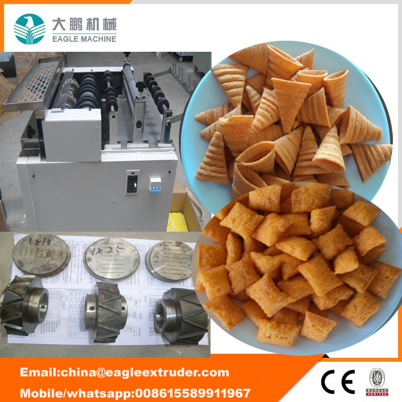 Pizzabrötchen / knusprige Muschelverarbeitungslinie / Fried Snack Food Flour Bugles Chips Making Machine