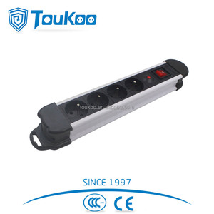 Double break main switch 4 outlet French extension electric socket power strip with overload protection