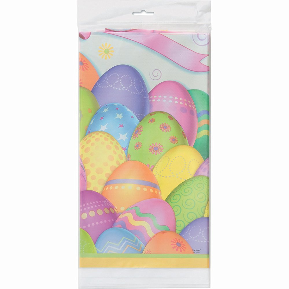 "Dazzle Eggs Easter Plastic Tablecloth, 84"" x 54"""