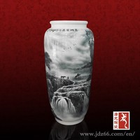 Landscape design white and grey vase made in Jingdezhen