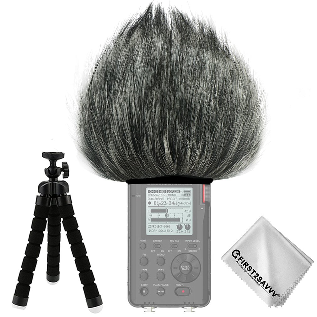 First2savvv TM-DR100MKIII-A01 Outdoor Portable Digital Recorders Furry Microphone Mic Windscreen Wind Muff for Tascam DR-100 MKIII DR100 MK3 + mini tripod + Suede cleaning cloth