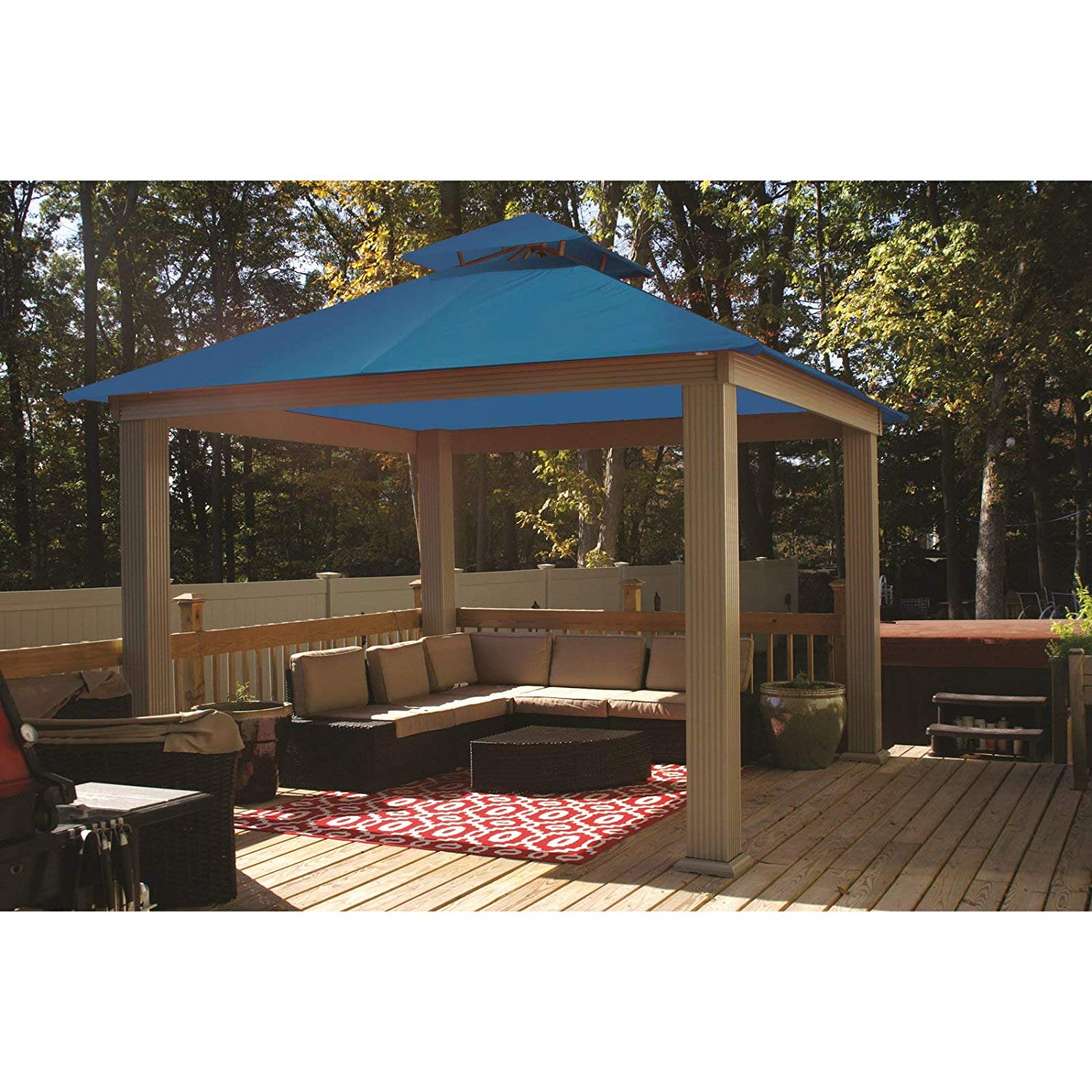 Get Quotations · Riverstone Industries Acacia 14ft x 14ft Gazebo Pacific  Blue OutDura Canopy - Cheap Blue Pop Up Gazebo, Find Blue Pop Up Gazebo Deals On Line At
