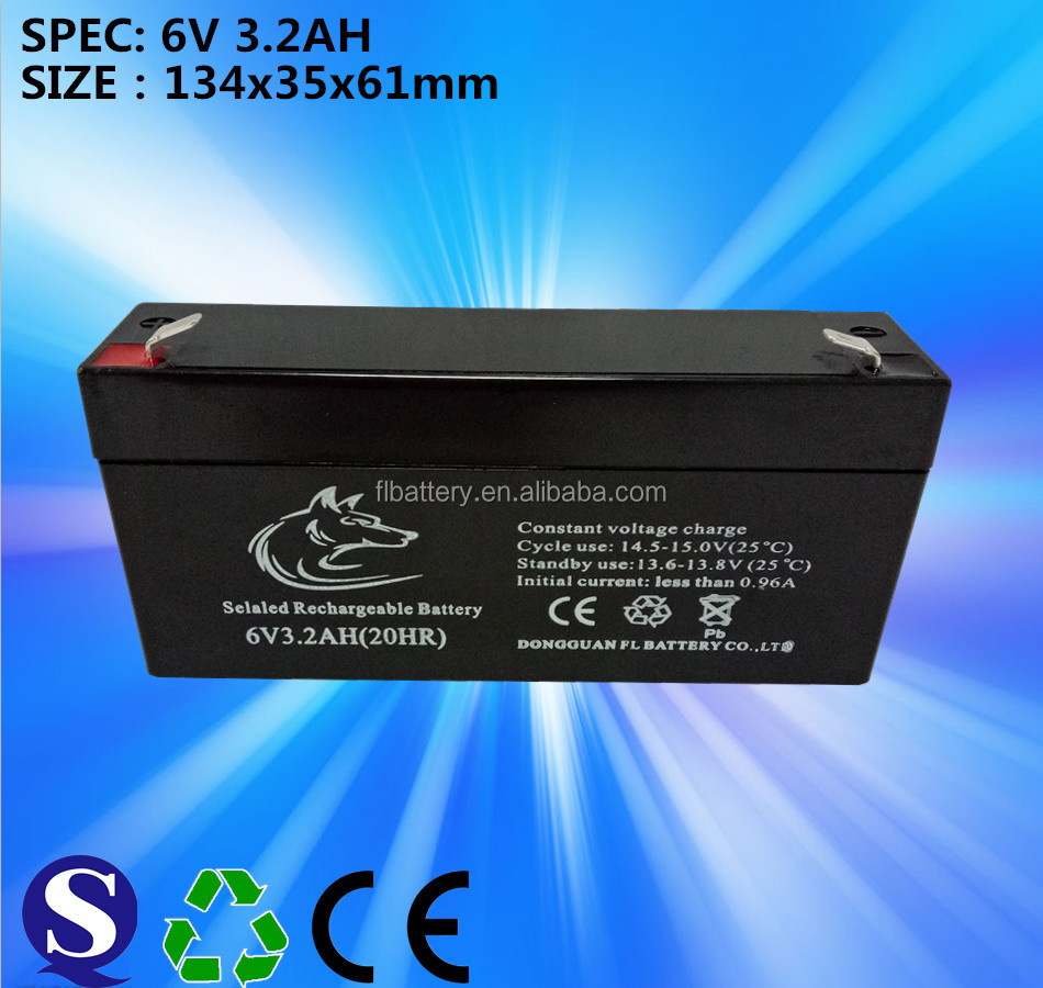 Solar Power Storage 6V 3.2A AGM Battery for Telecom and Can Renewable Use