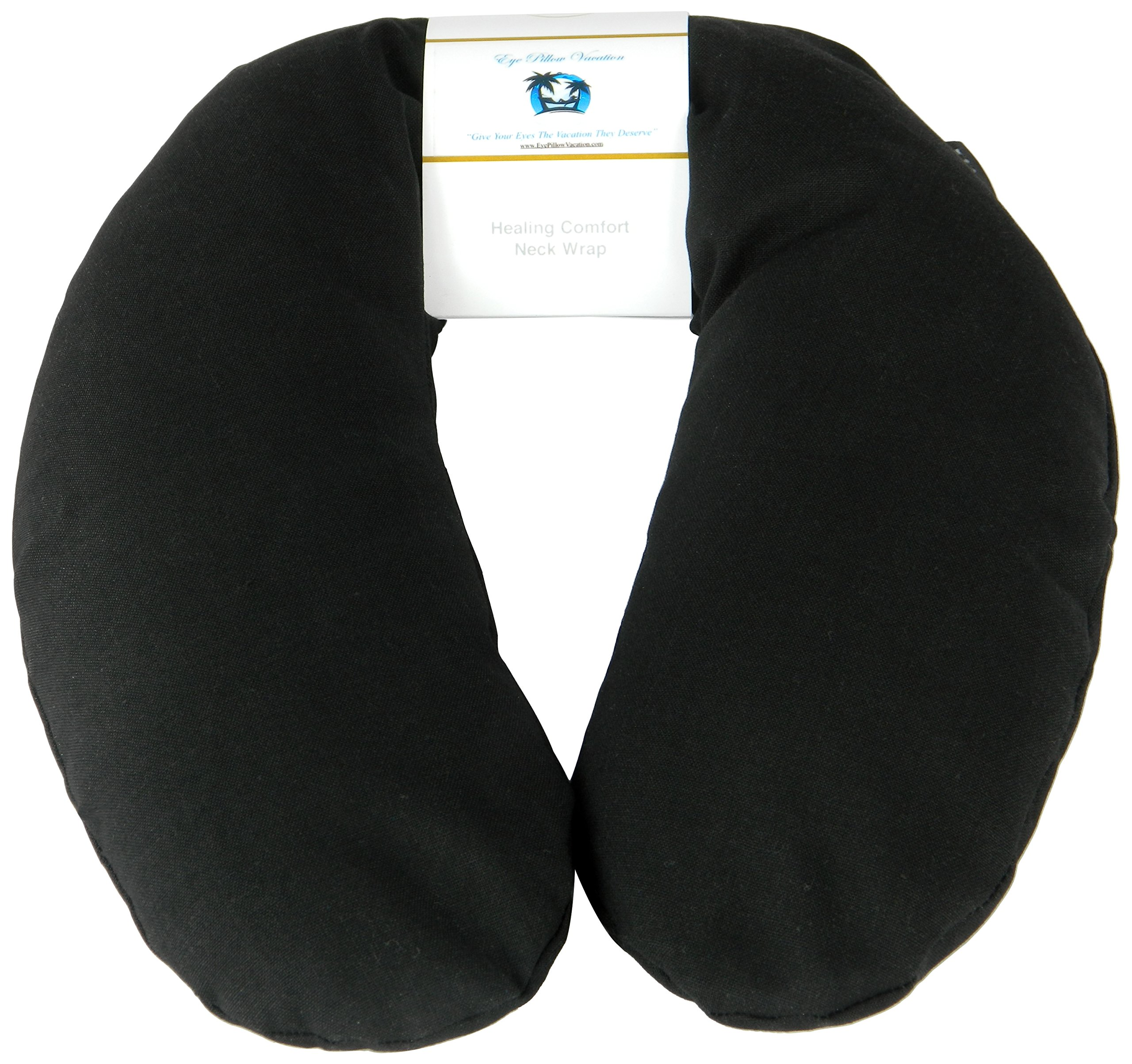 Neck Pain Relief Pillow - Hot / Cold Therapeutic Herbal Pillow For Shoulder & Neck Pain, Stress & Migraine Relief (Black - Organic Cotton)