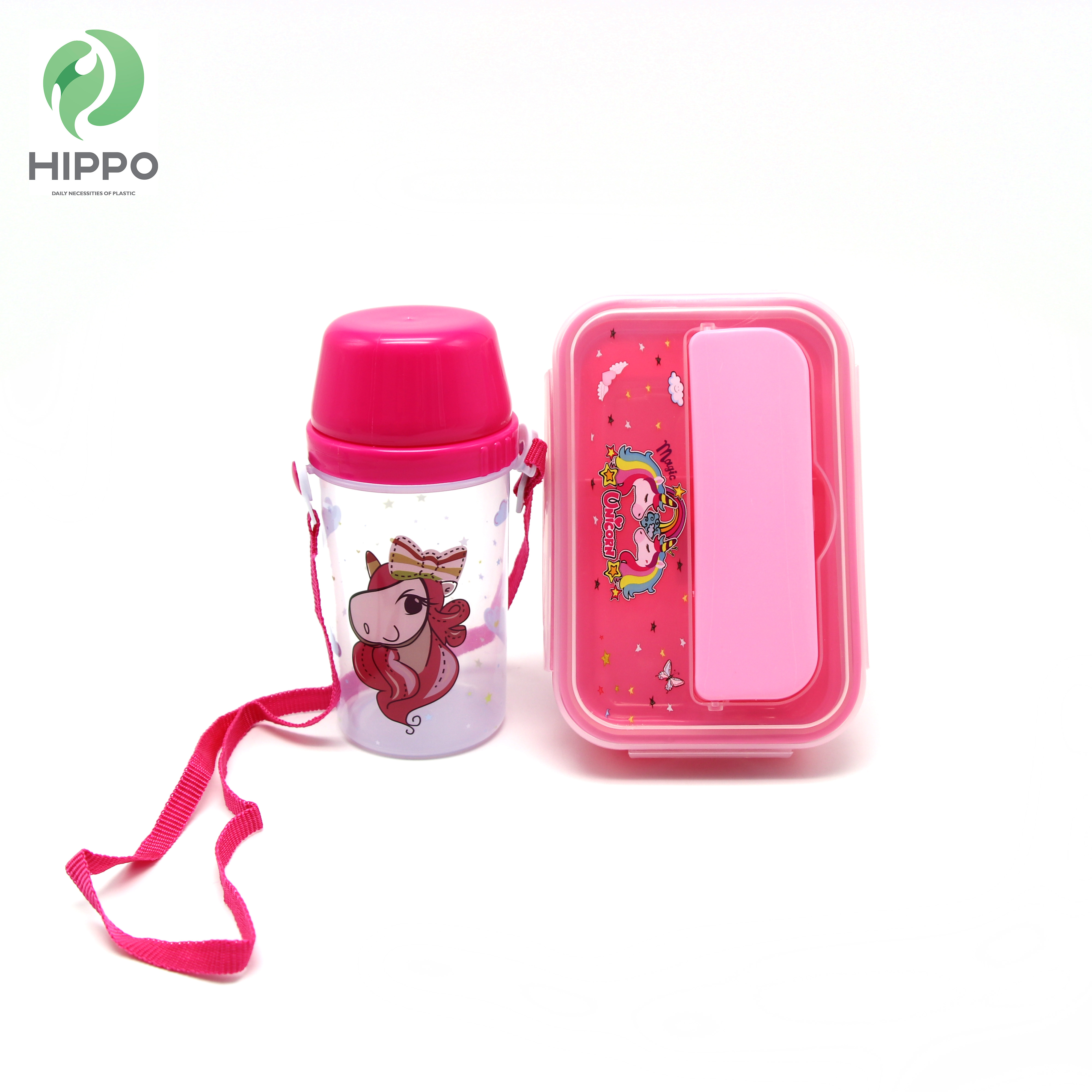 Plastic 2 compartiment kinderen lunchbox bento lunchbox water fles