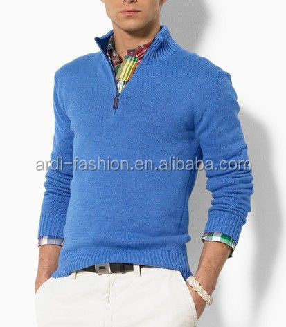 b88370be2 Custom Latest Design Mens Polo Neck Plain Knitted Zip Up Sweater ...