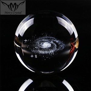 Milky Way Crystal 3D Laser Ball Paperweight for Business Table Decoration