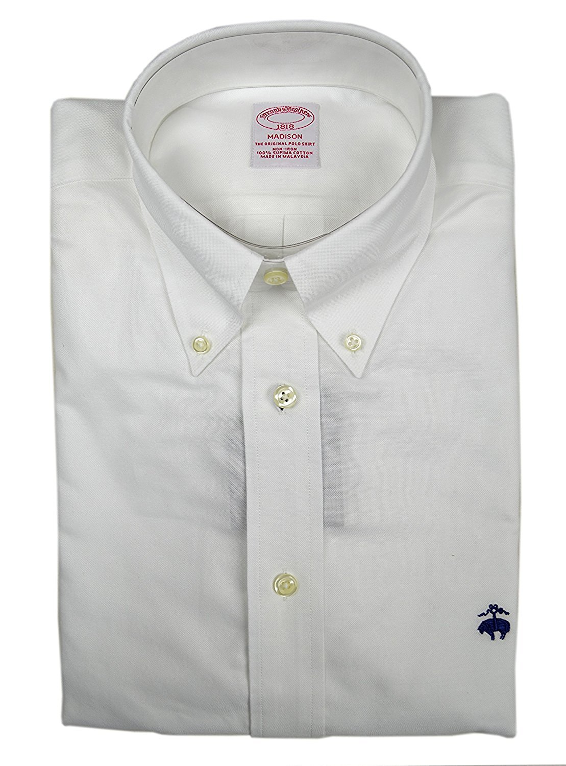 f2a1bd7a316 Get Quotations · Brooks Brothers Men s Madison Fit Supima Cotton The  Original Polo Shirt White Small