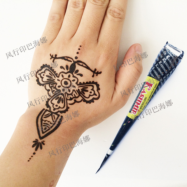 3 unids india kashmir henna negro crema tatuaje diy arte. Black Bedroom Furniture Sets. Home Design Ideas