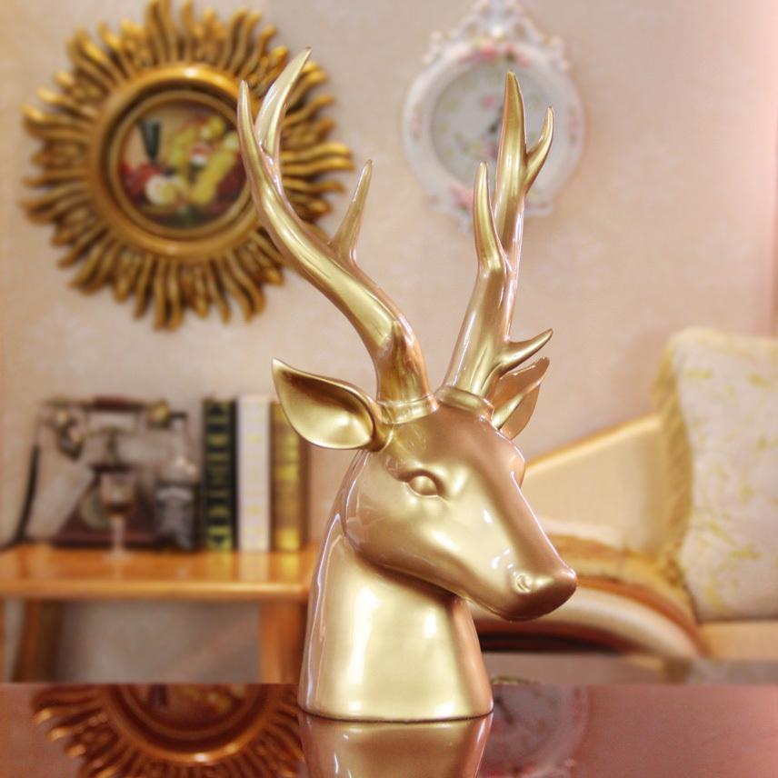 High Quality Polyresin Craft ,gold Resin Deer Head
