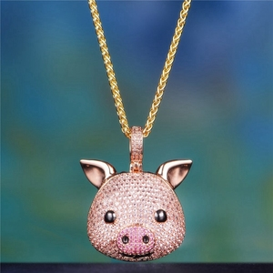 High quality Brass Animal pink pig design pendants Zircon Silver plated Men's necklace pendants