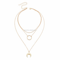 The New Fashion Gold Plated Crescent Moon Necklace For Girls Gift Wholesale NS800613