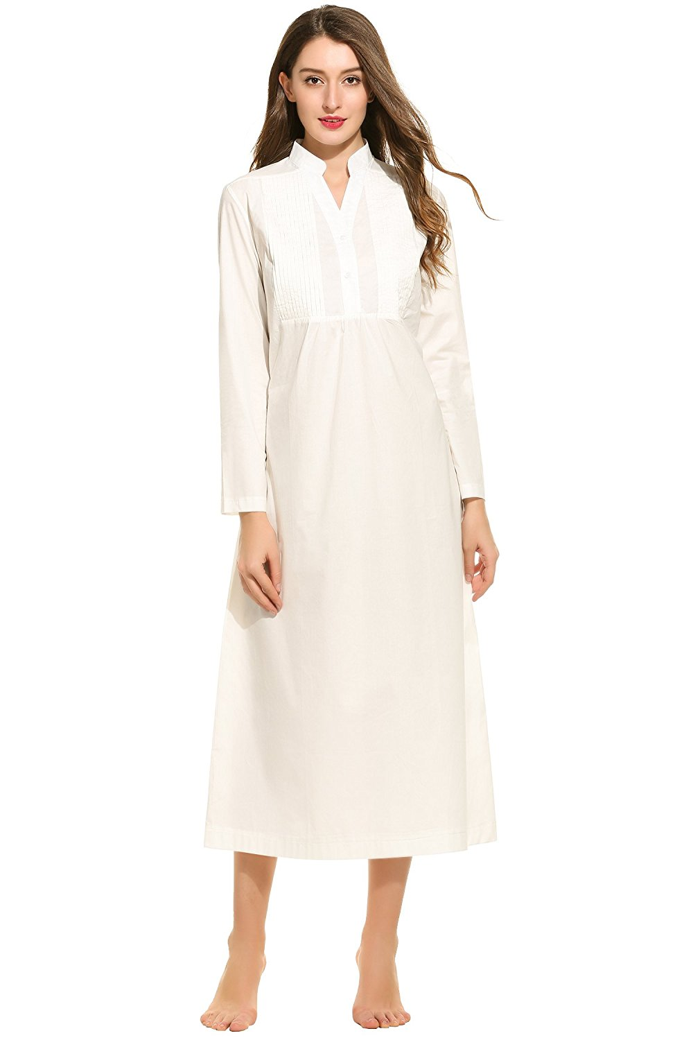 dd291b98af Get Quotations · Ekouaer Womens Cotton Victorian Nightgown Long Sleeve  Vintage Sleepwear(White